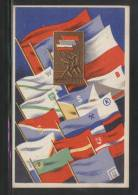 POLAND 1951 SPARTARKIADA SPORTS CHAMPIONSHIPS TYPE 5 MULTIPLE FLAGS AND SPARTKADIA BADGE Mining Miners - Poland