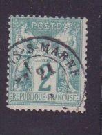"""FRANCE N°62 \""""SAGE 2c VERT N SOUS B \"""" OBLITERE TB, SIGNE - France"""