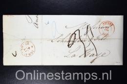 Belgium: Complete Letter 1845 Antwerp  To The Hague Holland - 1830-1849 (Belgique Indépendante)