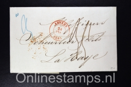 Belgium: Complete Letter From Antwerp To The Hague Holland 1845 - 1830-1849 (Belgique Indépendante)