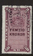 TAX REVENUE STEMPELMERKE STEUERMARKE TIMBRE FISCAL SWEDEN SCHWEDE SUEDE Early 1950-ties 50 Kr StämpelNo1 - Revenue Stamps