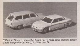 Coupure De Presse - Made In NOREV - PANHARD Break PL 17 Et CT 24 - Miniature 1/43 ème - - Cars
