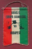 W29  / SPORT - European Championship 1983 BUDAPEST  Wrestling Lutte Ringen - 10  X 15 Cm. Wimpel Fanion Flag Hungary - Altri