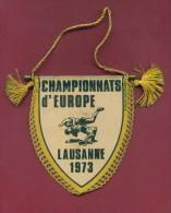 W44  / SPORT - European Championship 1973 LAUSANNE Wrestling Lutte Ringen - 8.5  X 10.0 Cm. Wimpel Fanion Flag Suisse - Lucha