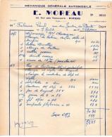 FACTURES, Mécanique Générale Automobile, E. MOREAU, Poitiers, Le 7 Août 1955, (fr : 1.40) - Cars