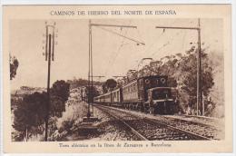 Spain - Tren Electrico En Linea De Zaragoza A Barcelona - Trains