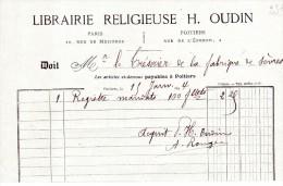 FACTURES, LIBRAIRIE RELIGIEUSE H. OUDIN, Poitiers, Le 15 Janvier 1894, (fr : 1.40) - Francia