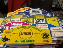 LOT PLAQUE* RALLYE RALLIES AUTOMOBILE REGIONAL VALADIER 12 AVEYRON SAUVETERRE 1987 89à91 93à95 - Rallye (Rally) Plates