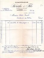 FACTURES, CHAMPAGNE, BERECHE & FILS, Ludes, Le 31 Juillet 1963, (fr : 1.40) - France
