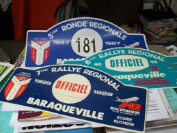 LOT PLAQUE* RALLYE RALLIES AUTOMOBILE REGIONAL  BARAQUEVILLE 12 AVEYRON 1987 1989-90 Avion Boeing 747 Blason Armoirie* - Targhe Rallye