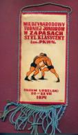 W48  / SPORT - Championship 1974  CHELM LUBELSKI Wrestling Lutte Ringen - 10.3  X 19.7 Cm. Wimpel Fanion Flag Poland - Lotta (Wrestling)