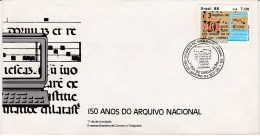"""MB 1925) BRASILIEN MiNr 2242 FDC: 150 Jahre Staatsarchiv: Seite Aus Dem Buch """"Gregorianische Gesänge"""", Computer - Musik"""
