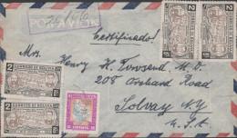 O) 1946 BOLIVIA, MUSICAL NOTES NATIONAL ANTHEM, 2 BS, COVER TO UNITE STATES, XF - Bolivia