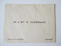 Alte Visitenkarte Paris. Mr & Mme H. Cuperman. 1. Rue De La Poterie Suresnes - Visitenkarten