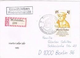 MiNr. 2757 (Sperrwert) Auf Einschreib-Brief  Mit SSt. Neukieritzsch $85. Geburtstag Der Frau Von Martin Luther - [6] République Démocratique