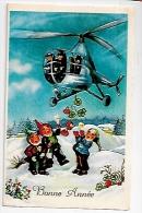 Bonne Année. Nains Dans La Neige. Hélicoptère, Champignons, Trèfles... - Nouvel An
