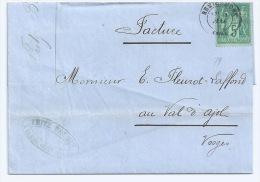 SAGE TYPE 2 / 5 C VERT SUR LETTRE / REMIREMONT VOSGES POUR LE VAL D'AJOL / 1879 / FONDERIE - Marcofilia (sobres)
