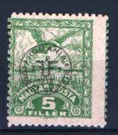 Hungary - DEBRECEN 1920. (Romania Occupation) Occupation ERROR ( Bad Perf.) Stamp 5f MNH (**) Animals / Birds - Local Post Stamps