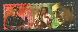 India 2014 Jagjit Singh 'Ghazal King' Singer Music Musician Musical Instrument Se-tenant Pair MNH Inde Indien - Musique
