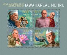 ca14110a Central African 2014 India Jawaharlal Nehru s/s Tiger Dalai Lama Flower Peacock Nobel Prize