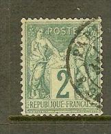 """FRANCE STAMP TIMBRE N° 62 \"""" SAGE 2c VERT TYPE I \"""" OBLITERE TB - France"""