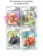 tg14202a Togo 2014 India Jawaharlal Nehru Gandhi s/s Tiger Peacock