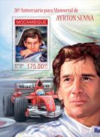 m14107b Mozambique 2014 Sport Car Formula 1 Ayrton Senna s/s
