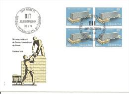 SVIZZERA - 1974 Nuova Sede BIT (ufficio Int. Lavoro) In Quartina Su FDC Con Annullo Spec. - FDC