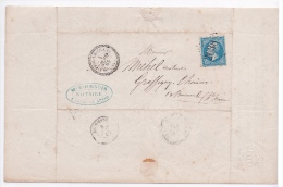 FRANCE  - LETTRE NAPOLEON GC 2038 LIFFOL LE GRAND 82 1865 CACHET PERLÉ POUR BOURMONT HAUTE MARNE - 1853-1860 Napoleon III