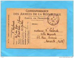 GUERRE14/18-CARTE FM  + SP 5  -29 Jui 1916-Mod A1 - Marcophilie (Lettres)