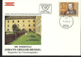 """Österreich 1984, FDC, """"GREGOR MENDEL""""  ANK Nr: 1794,   """"GRAZ 8010"""" - FDC"""