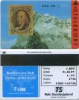 "Telefonkarte Dänemark -  Rare Stamps  "" USA Nr. 1 "" - TP23 - 11/93- SN 4300 - Aufl. 3000 - Timbres & Monnaies"