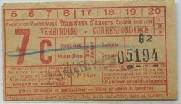 BILLETE DE TRAMWAYS D´ ANVERS  // 1929// (REF 6) - Tram