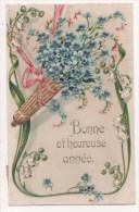 CPA Fantaisie - Fleurs - Bonne Et Heureuse Année - (motifs Légèrement Gaufrés) - Nouvel An