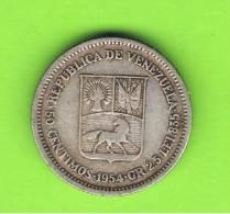 VENEZUELA - 50  Centimos  1954  KM35  PLATA - Venezuela