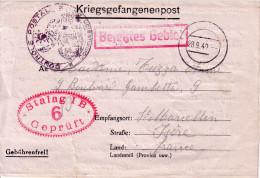 CARTE PRISONNIER DU STALAG IB 6 GEPRUFT POUR LA FRANCE - CACHET DE CONTROLE POSTAL FRANCAIS LE 28-9-1940 - DECHIRURE DU - WW II