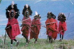 Masai Warriors, Kenya Postcard Used Posted To UK 2000s Stamp - Kenya