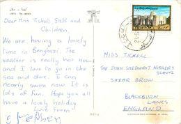 Camels, Libya Postcard Used Posted To UK 1970s Nice Stamp - Libya