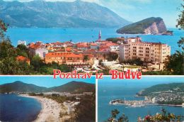 Budva, Montenegro Postcard Used Posted To UK 1990s Stamp - Montenegro