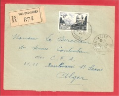 N°Y&T306   SIDI BEL ABBES       Vers   ALGER   27 AOUT 1954 - Covers & Documents