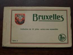 BRUXELLES Aquarelles Série 2 / Carnet 10 Cartes Vues / Compleet ( PK / CP - Zie Foto´s Voor Details ) !! - België