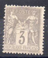 N° 87 - 3c  Gris - Neuf Avec Charniere - 1876-1898 Sage (Type II)