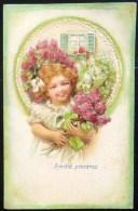 Chromo Art Nouveau Relief Illustrateur Clapsaddle ? Fille Fillette Et Lilas Medaillon Voyagé 1907 Plombieres - Portraits