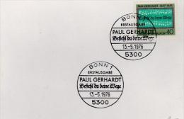 MB 1979) BRD MiNr 893 FDC, Paul Gerhardt, 'Befiehl Du Deine Wege' (Kirchenlied) (Vorlage) - Musik
