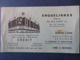 BELGIQUE - ERQUELINNES - CARTE MEUBLES DEVER 1970 - Cartes De Visite