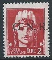 1944 RSI GNR VERONA 2 LIRE MNH ** - ED499 - 4. 1944-45 Repubblica Sociale