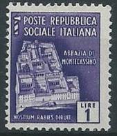1944-45 RSI MONUMENTI DISTRUTTI 1 LIRA MNH ** - ED501 - 4. 1944-45 Repubblica Sociale