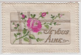 CARTE BRODEE Avec Fleurs - JE VOUS AIME - Brodées