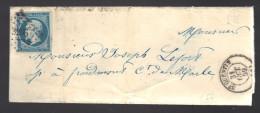 FRANCE N° 14 Obl. S/Lettre Entiére PC 3256 Saint Quentin + Cachet Facteur - 1862 Napoleon III
