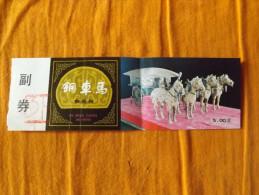 TICKET - CHINE - MUSEE - ANNEE 80 - CHARIOT ET CHEVAUX EN BRONZE - Tickets - Entradas